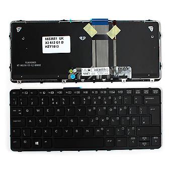 HP Pro X2 612 G1 ブラックフレームバックライト黒窓8英国レイアウト交換ノートパソコンのキーボード
