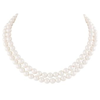 Eternal Collection Regal Two Strand White Shell Pearl Necklace
