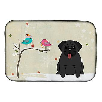 Christmas Presents between Friends Pug Black Dish Drying Mat