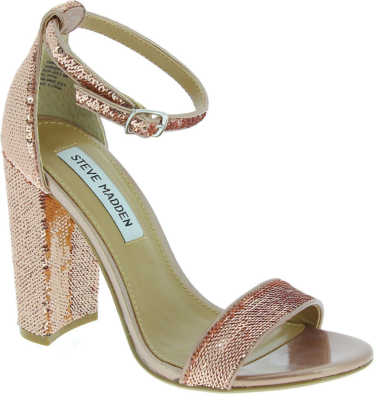 Steve Madden Kobiety's pasek kostki blok wysokie obcasy sandały w różowych cekinów 0xCbi