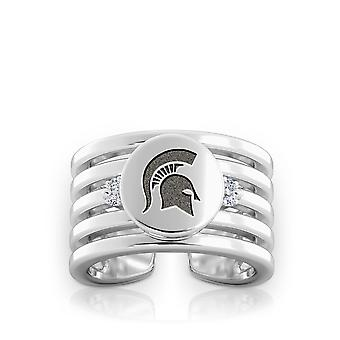 Michigan State University graviert Sterling Silber Diamant Multiband Manschette Ring