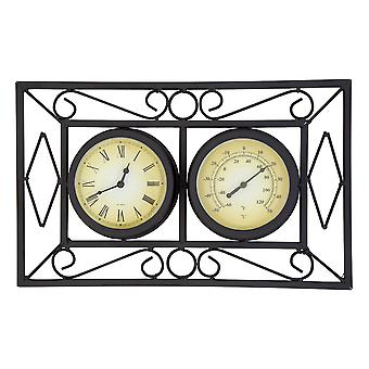 Black Ornate Garden Outdoor Metal Wall Mounted Frame Clock & Thermometer