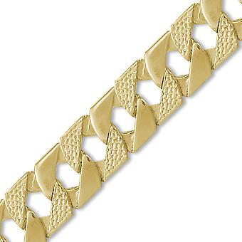 Jewelco London Men's Solid 9ct Yellow Gold London Lizard Curb 22mm Gauge Hand Assembled Cast Chain Necklace