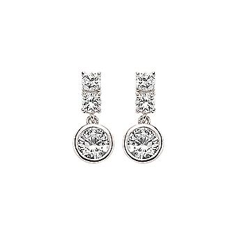 Jewelco London Rhodium Plated Sterling Silver Round Brilliant Cubic Zirconia Bubble Stud Earrings