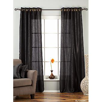 Black Ring / Grommet Top Textured Curtain / Drape / Panel - 84