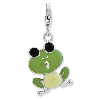 925 Sterling Silver Rhodium plated Fancy Lobster Closure Enameled 3 d Frog With Lobster Clasp Charm Pendant Necklace Jew