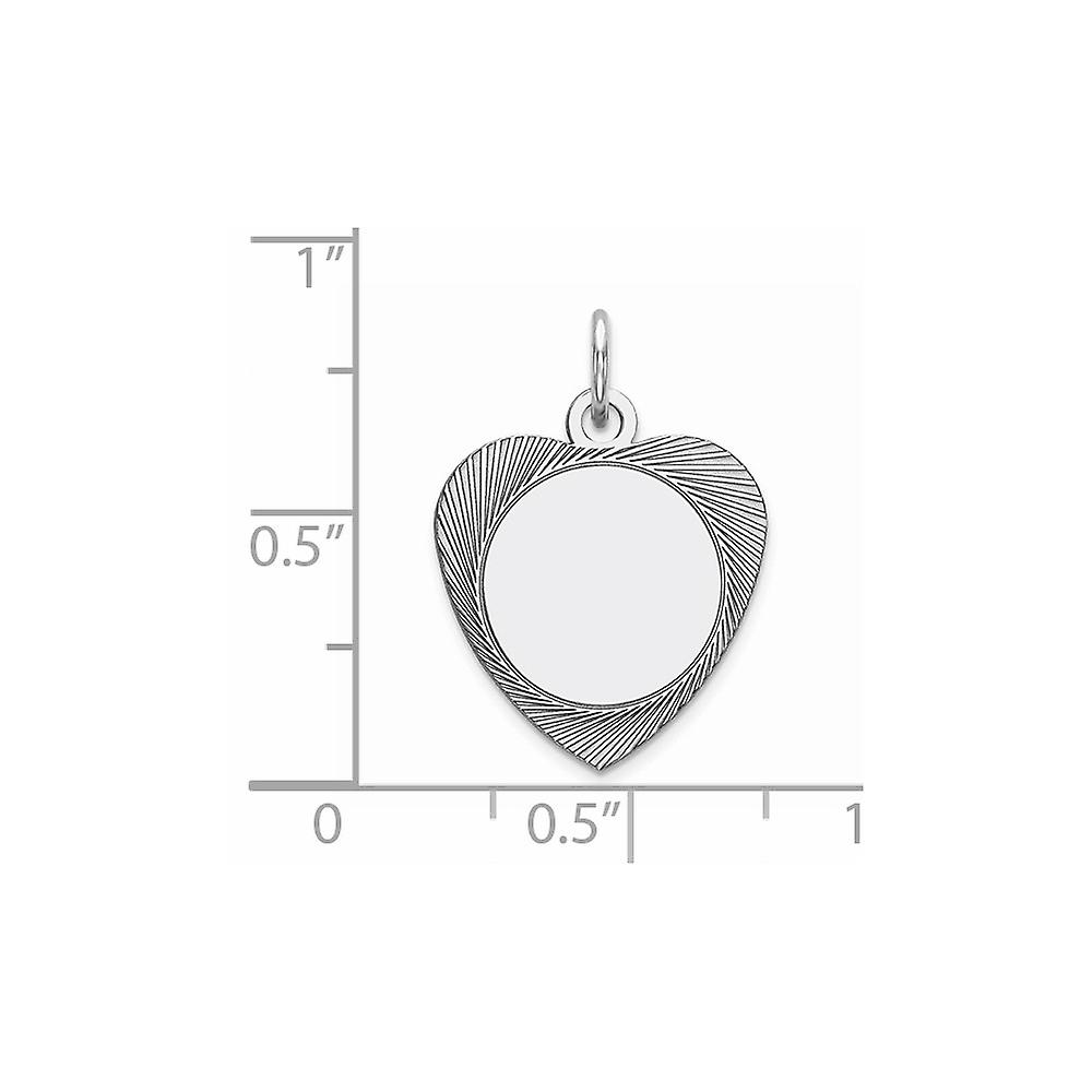 Sterling Silver Polished Engravable Engraveable Heart Disc Charm