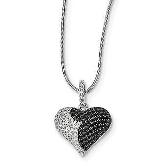 925 Sterling Silver Hummer Claw Stängning och CZ Cubic Zirconia Simulerad Diamond Brilliant Embers Love Heart Necklace 18
