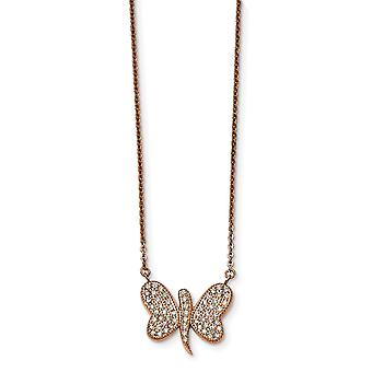 Stainless Steel Rose Ip plated With Preciosa Crystal Dragonfly W/2 Inch Necklace 16 Inch Jewelry Gifts for Women