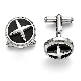 Stainless Steel Polished Enameled X Cuff Links Jewelry Gifts for Men