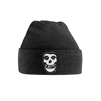 Misfits Beanie Hat Skull Patch Band Logo new Official Black Embroidered
