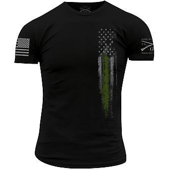 نورت نمط الخط الأخضر العلم تي شيرت - أسود
