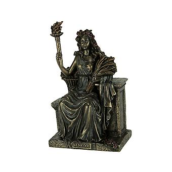 Demeter Goddess of the Harvest Sitting On Bench Holding Wheat and Torch Statue