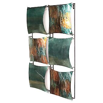 Vertical 6-Panel Metal Wall Decor - Metal, Lacquered In Turquoise, Copper And Bronze