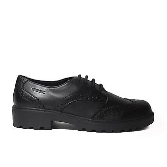 Geox Casey J6420N Black Leather Girls Lace Up Brogue School Shoes