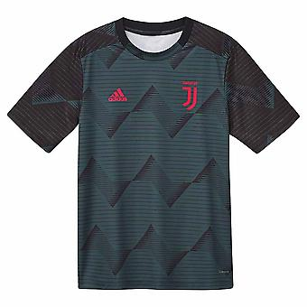 2019-2020 Juventus Adidas pre-match trainings shirt (groen)-kinderen