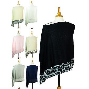 Womens Poncho Chiffon Schal Mode Wrap Jersey Schal Eine Größe neu