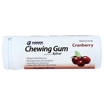 Hager pharma dental care chewing gum, cranberry, 30 ea