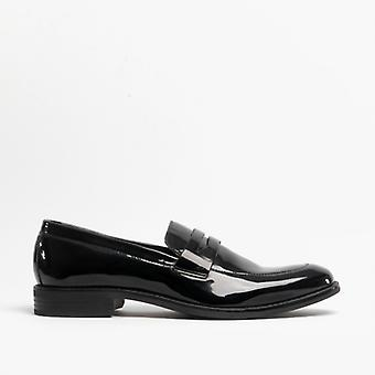 Mister Carlo Noah Mens Penny Loafers Patent Black