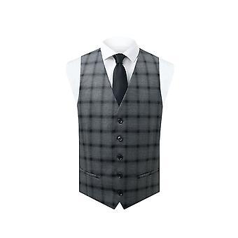Dobell mens grijs gilet regular fit zwart multi streep Windowpane controleren