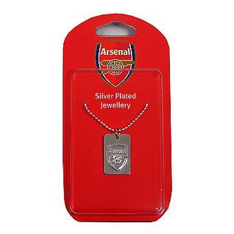 Arsenal FC offizielle Versilberte Fußball Wappen Hund Tag & Kette