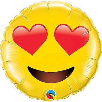 Qualatex Smiley Face with Heart Eyes Supershape Balão de Folha