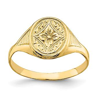 14k Gold Oval Star Diamond Center Baby Ring Størrelse 3 - 1,6 Gram