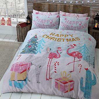 Flamingo Weihnachten Multi Bettwäsche Set