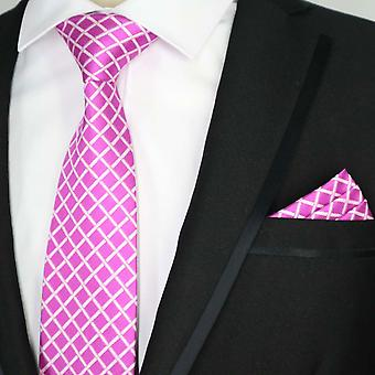 Pink & white cross diamond pattern tie & pocket square