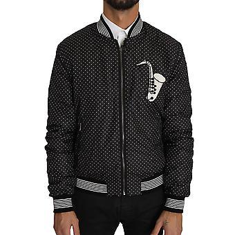 Dolce & Gabbana Black Polka Dot Sequin Beads Bomber Jacket
