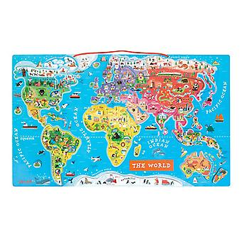 Janod Magnetic World Map Puzzle Version anglaise