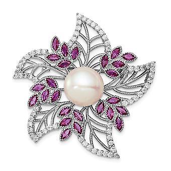 925 Sterling Silver Rh10 11mm White Freshwater Cultured Pearl CZ Cubic Zirconia Simulated Diamond Pink Corundum Pin Jewe