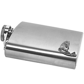 Fishing Pewter Badge on Stainless Steel Flask Set - 6oz