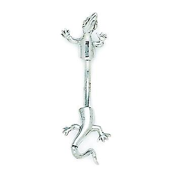 14k White Gold 14 Gauge Lizard Body Jewelry Belly Ring Measures 31x11mm Jewelry Gifts for Women