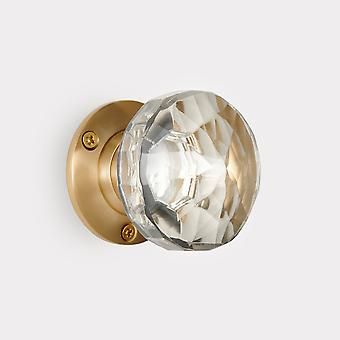 Skleněný vnitřní dveřní knoflík - čirý / zlatý