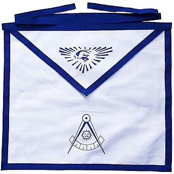 Masonic blue lodge white cotton duck cloth past master apron printed