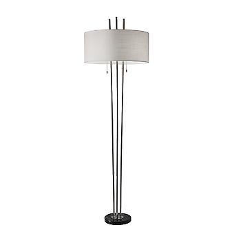 Triple Steel Pole Floor Lamp with Stylish Floating White Fabric Shade Silhouette
