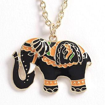 TOC Enamel Painted Circus Elephant Pendant on 18