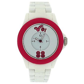 Voi Jeans Arabella Ladies-Girls Analogue White & Pink Plastic Strap Watch