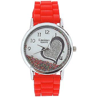 Kanima Ladies-Girls Analogue Floating Crystals In Dial Red Silicone Strap Watch