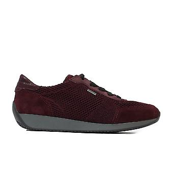 Ara Lisbon Fusion 4 44063-05 Burgundy Knitted Mesh Womens Wide Fit Lace Up Trainers