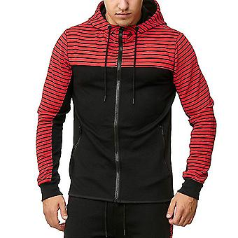 YANGFAN Men's Colorblock Pullover Hoodies Sports Zip Up Moletom