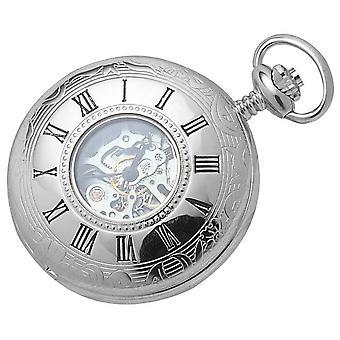 Woodford cromado esqueleto metade Hunter mecânico relógio de bolso - prata
