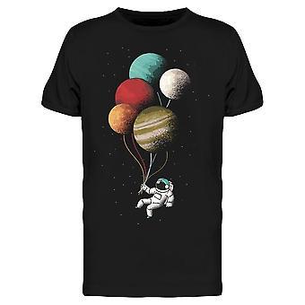 Astronaut Planet Ballonger Space Menn's T-skjorte