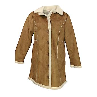Back in the Saddle Women's Faux Suede Button Down Jacket Brown