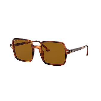 Ray-Ban Square II RB1973 954/57 Stripped Havana/Brown Polarised Sunglasses