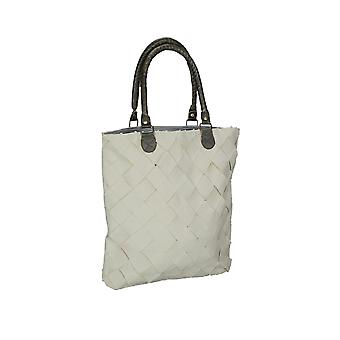 Lattice Basket Weave Cotton Tote Bag W/ Leather Handles 16 X 15 Inches
