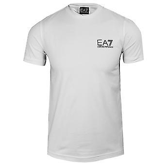 Ea7 emporio armani miehet's valkoinen teipattu t-paita