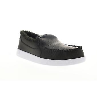 DC Villain Winter  Mens Black Leather Slip On Skate Sneakers Shoes
