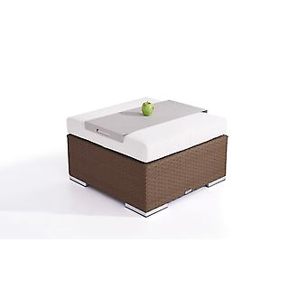 Polyrattan Cube kruk 75 cm - nootbruin